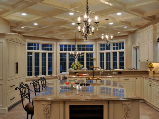 Elegant long island kitchen design for a large scale room for Large kitchen ideas