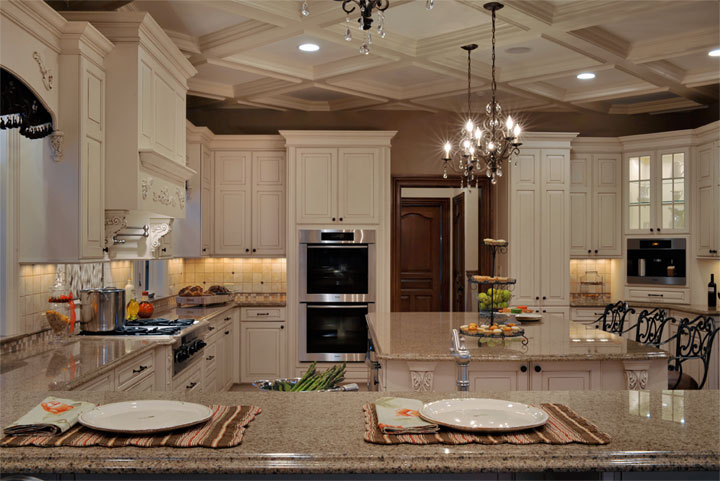 Elegant long island kitchen design for a large scale room for Luxury elegant kitchen designs