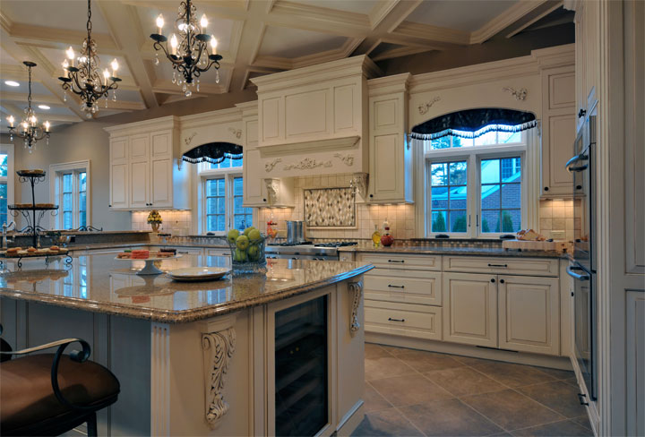 Elegant long island kitchen design for a large scale room for Kitchen ideas elegant
