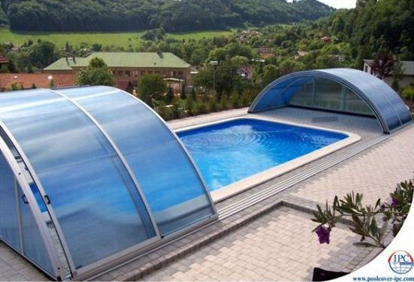 Swimming pleasure on a rainy day with telescopic pool for Greenhouse over swimming pool