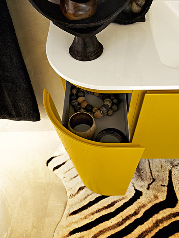 Beautiful Vivid Yellow Bathroom Vanity With Curvaceous ...