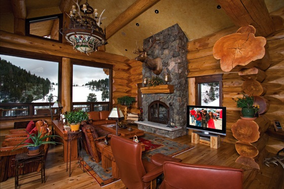 Amazing Log Home Brimming With Sophisticated Electronic