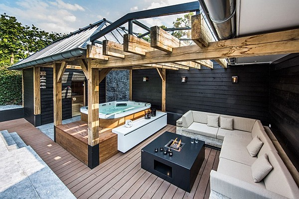 luxury backyard drenched decorated in the netherlands home design