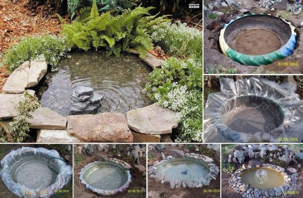 How to make a decorative pond from old tires home design for How to use old tires in a garden