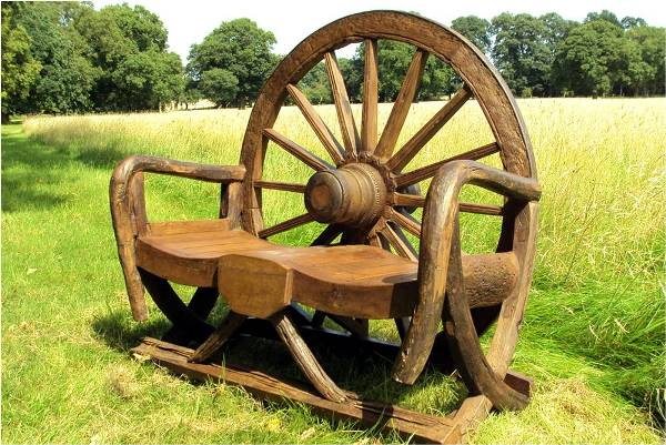 Cart Wheel Bench Wagon Wheels And ox Carts in a
