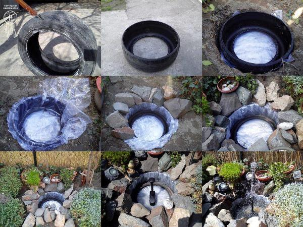 Decorative-Pond-From-Old-Tires