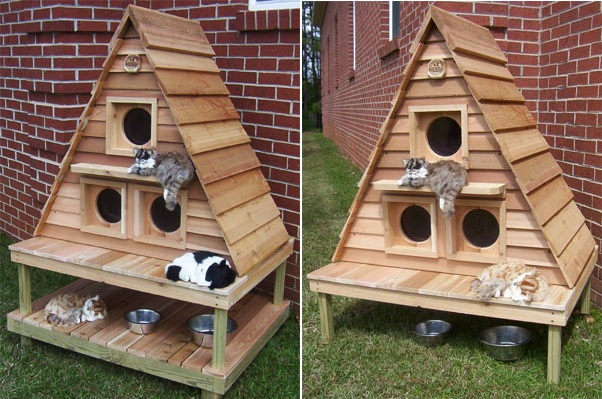 Woodwork Cat House Designs Outdoor PDF Plans