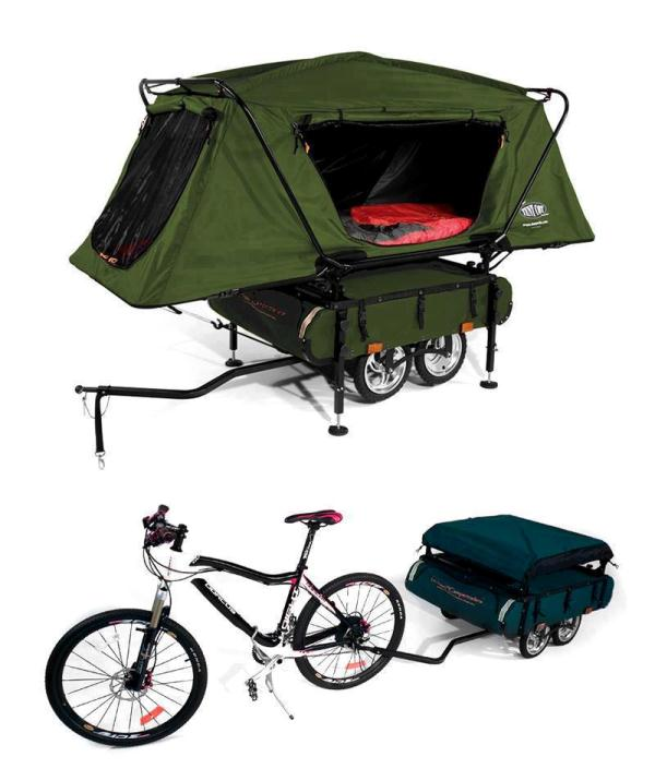 Bicycle Camper Trailer With Oversize Tent Cot Home