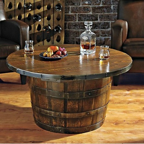 Handmade Round Vintage Oak Whiskey Barrel Table Home