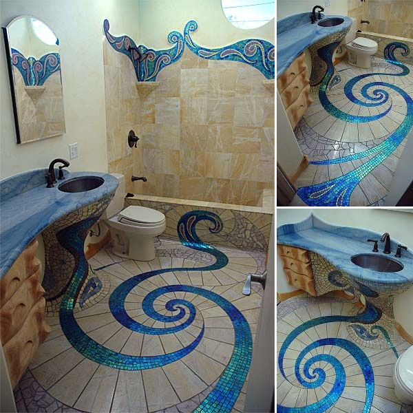 Wonderful Modern Bathroom With Mosaic Tiles  Bathroom Designs  Mosaic Tiles