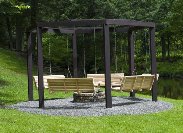 Awesome Fire Pit Swing Set Home Design Garden