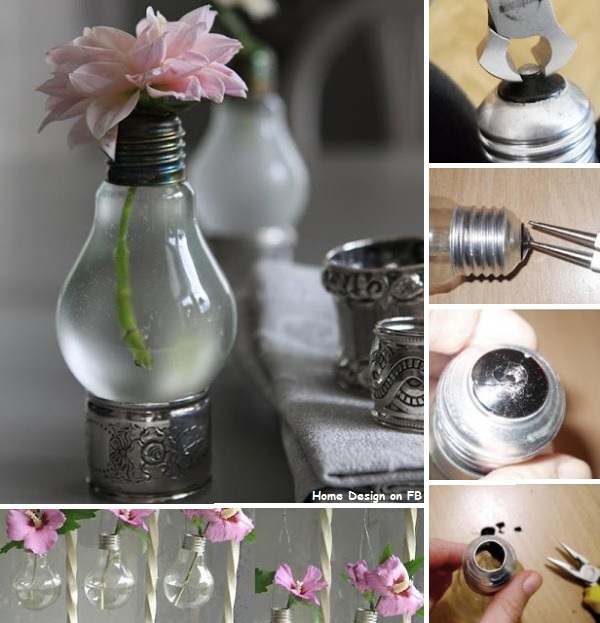 Diy project recycled light bulbs home design garden for Cool recycling projects