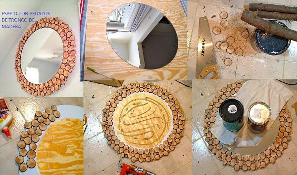 Diy project unique round mirror design idea home design for Como hacer un espejo con marco de madera