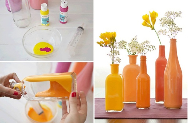 Paint the inside of clear bottles to create beautiful for How to do glass painting at home