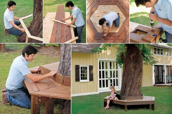 How To Build A Bench Around Tree Home Design Garden