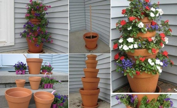 How to make a terra cotta pot flower tower home design - Ideas for making flower pots ...