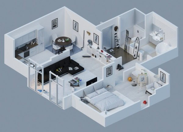 3d Double Bed Design : Awesome 3D Plans For Apartments  Home Design, Garden & Architecture ...