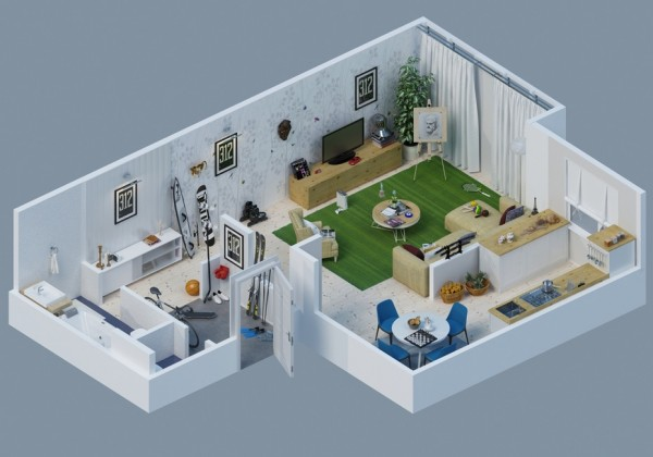 Awesome 3d Plans For Apartments Home Design Garden
