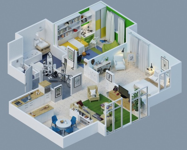 Awesome 3d plans for apartments home design garden 3d apartment layout