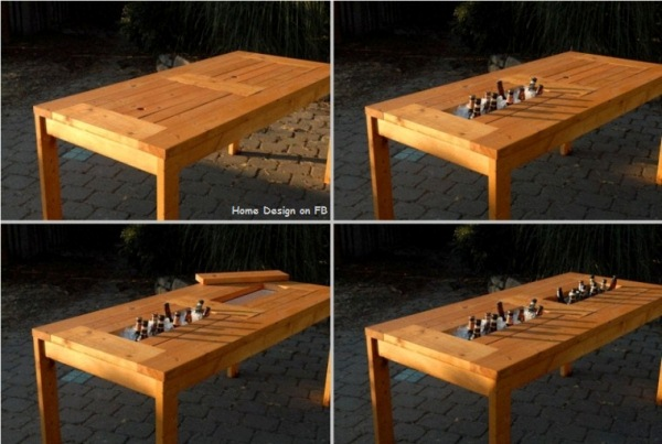 Diy backyard tables Picnic table with cooler plans